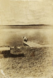 abstract old style photo of pier and lake landscape. black and white image