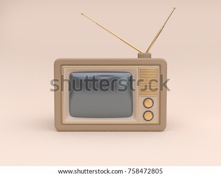 abstract old television cartoon style soft brown-cream minimal cream background technology concept 3d rendering