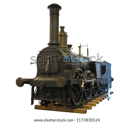 Abstract old Vintage steam engine locomotive train isolated over white background