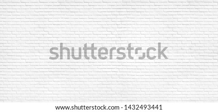 Abstract old white brick wall texture for pattern background. wide panorama picture.
