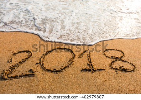 abstract  2018  on a beach sand  background #402979807