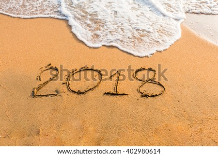 abstract  2018  on a beach sand  background #402980614