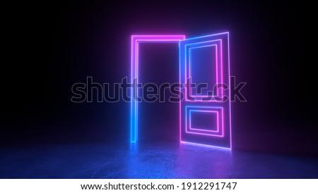 Abstract open door to universe. Cyberpunk neon door background concept. Pink violet neon. Abstract neon shapes hologram led laser door. Glowing neon frame. Modern 3d graphic concept. 3D rendering
