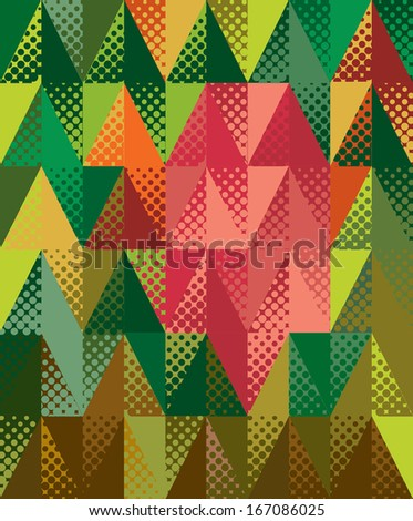 Abstract optic effect colorful triangle background with dots.