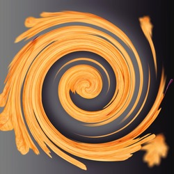 abstract orange spiral for backgrounds and wallpapers on black