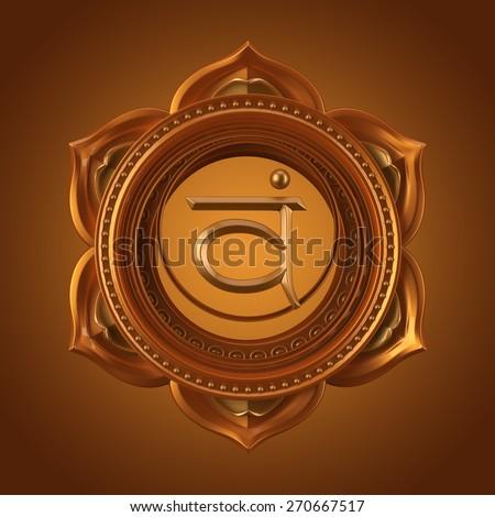 abstract orange Swadhisthana chakra symbol, 3d modern illustration Stock photo ©