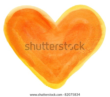 Abstract orange watercolor hand painted artistic heart background.