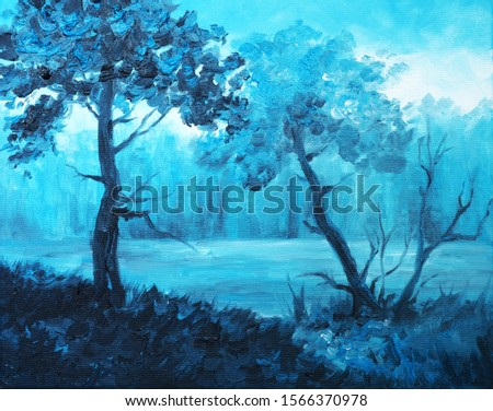 Abstract Original Oil Painting on Canvas - Indigo Landscape - Navy Blue Forest Painting, Magic Blue Nature Painting - Indigo Art