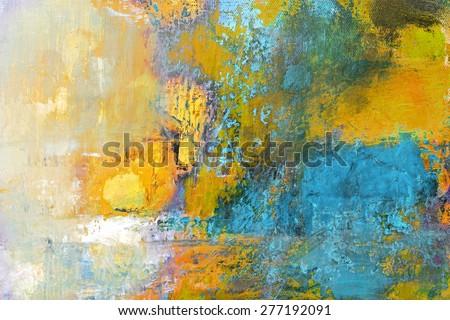 abstract original painting on canvas, sun ball in yellow and turquoise, can be used as background or poster