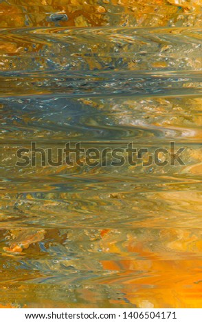 Abstract paint background. Yellow grey color liquid gradient. Smooth surface pattern texture similar to still water reflection.