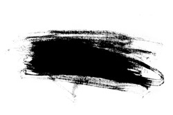 Abstract paint brush stroke. Black brush stroke over textured white paper background.