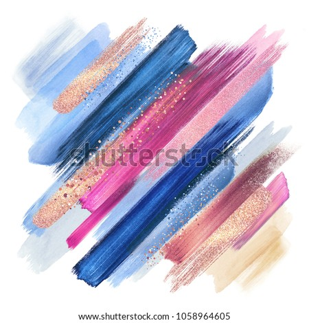 abstract paint smears isolated on white, watercolor brush strokes, fashion make up palette, sparkling shimmer, intricate ethnic background, pink blue colors