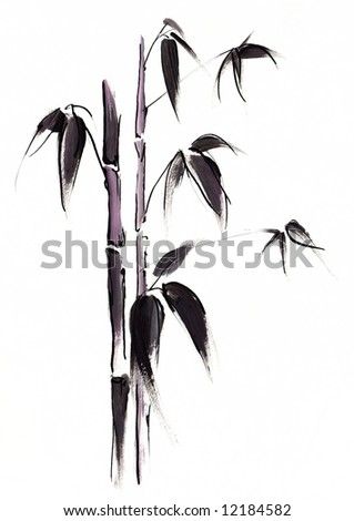 Abstract painted black japanese bamboo leaves illustration on white background. Art is created and painted by myself.