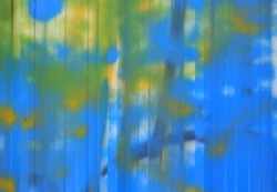 Abstract painted blue color on zinc wall texture background.