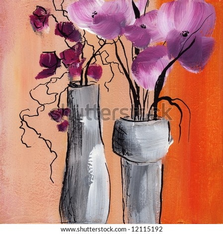 Abstract painted floral stilllife  Artwork is created and painted by myself