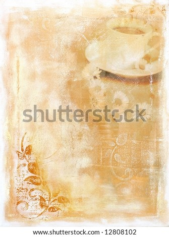 Abstract painted food background with cup of coffee and daisy flower. Art (and used content )is created  and painted by photographer. Original artwork,no filter used!