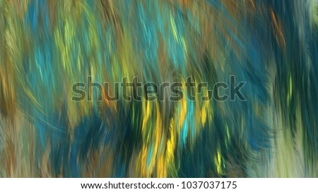 Abstract painted texture. Chaotic blue, yellow and green strokes. Fractal background. Fantasy digital art. 3D rendering.
