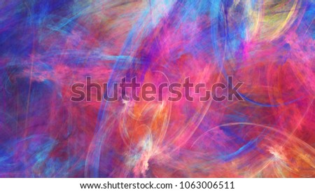 Abstract painted texture. Chaotic pink, orange and blue strokes. Fractal background. Fantasy digital art. 3D rendering.