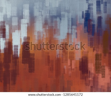 Abstract painting backdrop on concrete wall. 2d illustration. Various colorful patterns hand painted on flat surface. Painted rough surface. Brush strokes.