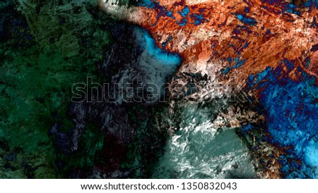 Abstract painting brush stroke texture space atmospheric landscape illustration background #1350832043