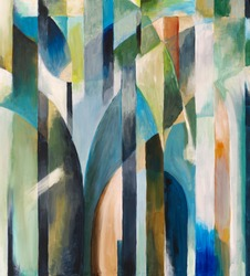 Abstract painting by Clive Watts - Blue Curve
