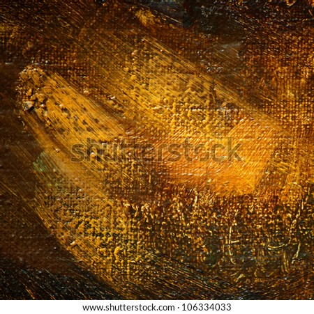 abstract painting by oil on a canvas, illustration, painting, shone golden paint