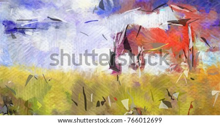 Abstract painting. Horse in the field. 3D rendering.