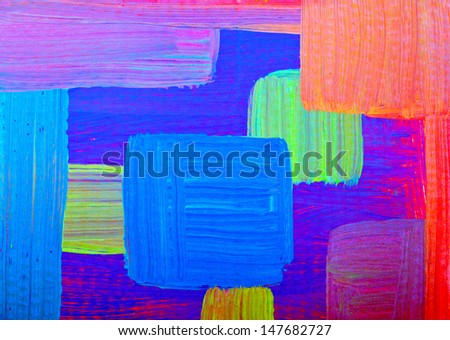 Abstract painting in blue and orange