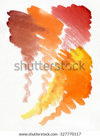 Abstract painting in red and orange colours