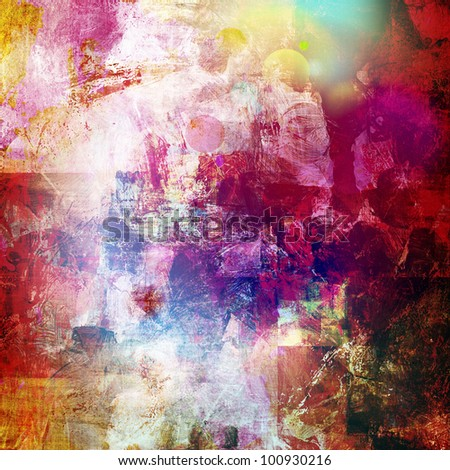 abstract painting - mixed media grunge - stock photo