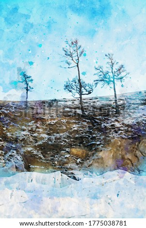 Abstract painting of trees on cliff, nature landscape image, digital watercolor illustration, art for background