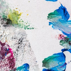 abstract painting on paper oil and gouache colorful background