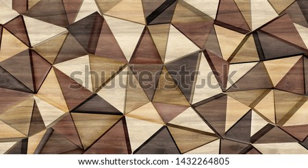 Abstract parquet floor with rumpled futuristic triangular geometric surface and wooden 3d background #1432264805