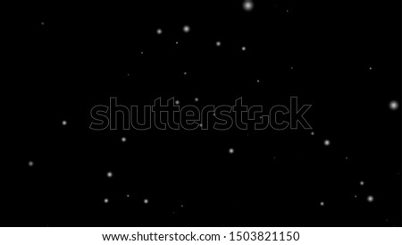 Abstract particle background. White Snow Falling on Isolated Black Background, Shot of Flying Snowflakes Bokeh, Dust Particles or Powder in the Air. Holiday Overlay Effect,