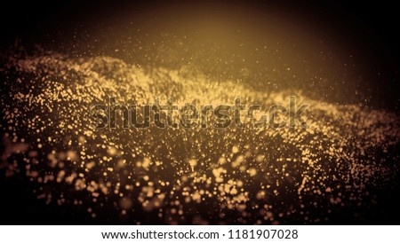 Stock Photo Abstract particle blue and red wave background. Dynamic wavy effect flow with glowing sparkles. Motion graphics 3D illustrationbackdrop with depth of field. 4K