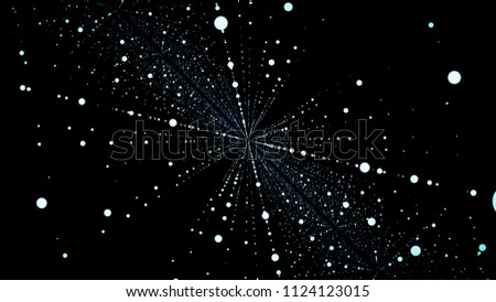 Abstract particle fail in the dark. Random small particles form horizontal abstract lines. Infinite space background. Matrix of glowing stars with illusion of depth, perspective. Small circles appear