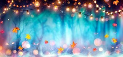 Abstract Party In Defocused Forest At Twilight - Halloween Background