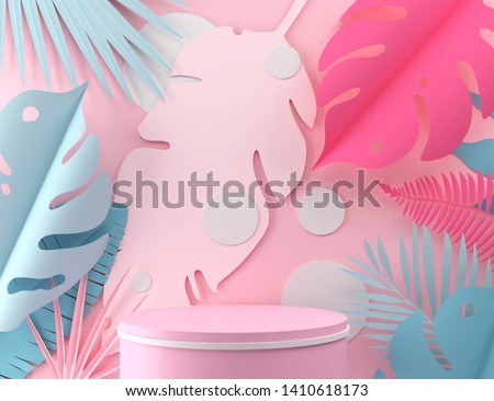 abstract pastel color geometric shape background, modern minimalist mockup for podium display or showcase, 3d rendering