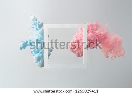 Abstract pastel pink and blue color paint with pastel gray background. Fluid composition with copy space. Minimal natural luxury. #1265029411