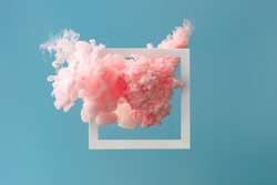 Abstract pastel pink color paint with pastel blue background. Fluid composition with copy space. Minimal natural luxury.