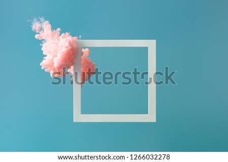 Abstract pastel pink color paint with pastel blue background.. Fluid composition with copy space. Minimal natural luxury. #1266032278
