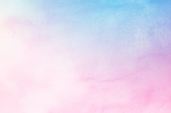 Abstract pastel watercolor background - Blue sky and pink pastel watercolor painted on paper