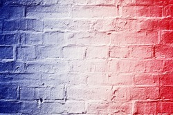 Abstract patriotic red white and blue brick wall background texture for celebrations, voting, memorials, labor day and elections