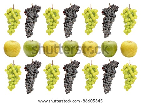 Abstract pattern from apples and grapes clusters isolated on a white background