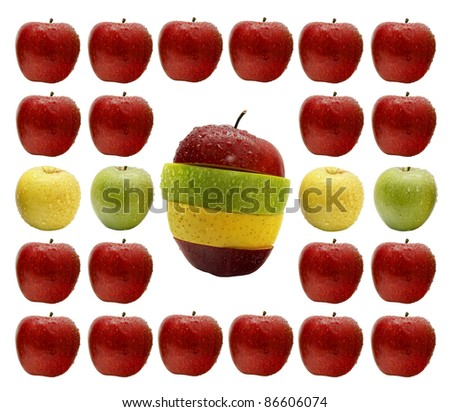 Abstract pattern from color apples with a red, yellow and green sliced apple in the center isolated on a white background