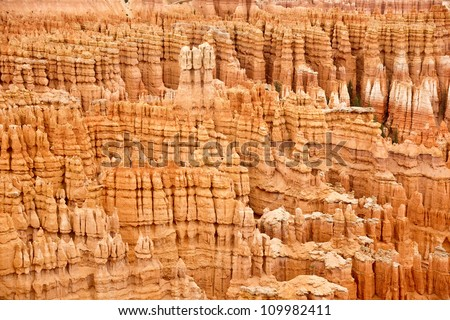 Abstract pattern of sandstone rock formations at colorful Bryce Canyon National Park.