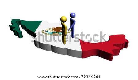 abstract people shaking hands on Mexico map flag illustration