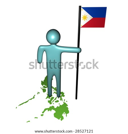 abstract person on map with Philippines Flag