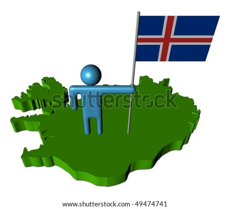 abstract person with Icelandic flag on map illustration