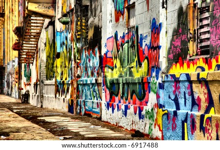 Abstract perspective of graffiti building